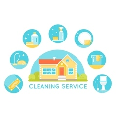 House surrounded by cleaning services images vector