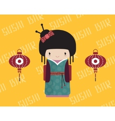 Kokeshi doll in kimono with traditional asian vector