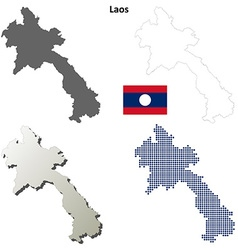 Laos outline map set vector