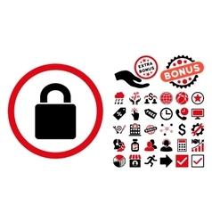 Lock Flat Icon with Bonus vector image vector image