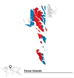 Map of Faroe Islands with flag vector image