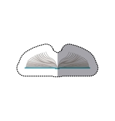 middle shadow color sticker with open book vector image vector image
