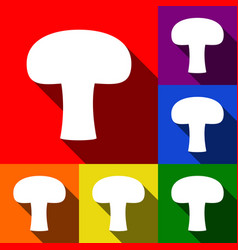 Mushroom simple sign set of icons with vector