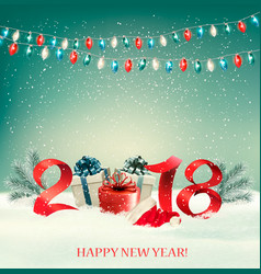 new year background with gift boxes and colorful vector image vector image