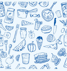 Pattern of cooking utensils and food vector