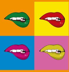 Pop art mouth design vector