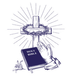 praying hands bible gospel crown of thorns vector image vector image