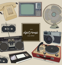 retro home appliances hand draw vector image vector image