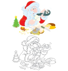 Santa slightly drunk vector image