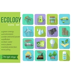 Set of colorful modern ecology icons with long vector image vector image