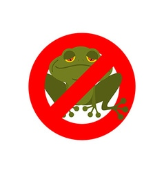 Stop frog Red forbidding sign for green amphibian vector image vector image