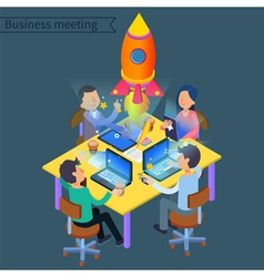 Successful business meeting isometric concept vector