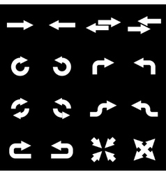 white arrows icon set vector image