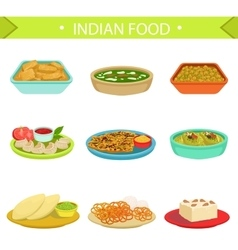 Indian food famous dishes set vector