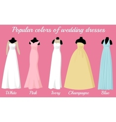 wedding dresses of popular colors on mannequins vector image
