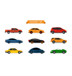 Set of different cars isolated on white vector