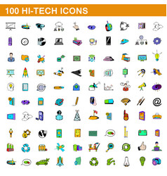 100 hi-tech icons set cartoon style vector