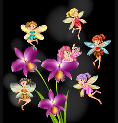 fairies flying around orchid flowers vector image