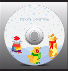 Christmas cats design for cd cover vector