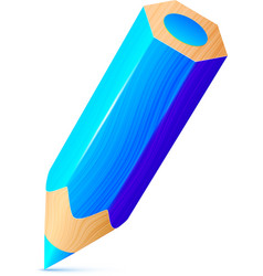 Cute blue wooden little pencil vector