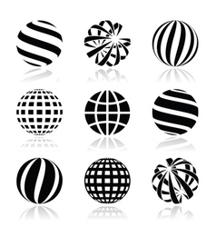 Globe sphere earth icons set vector