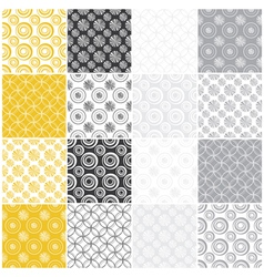 Yellow and gray seamless patterns with circles vector