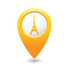 eifel tower icon on map pointer yellow vector image