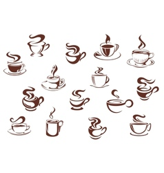 Assorted brown cups of hot coffee vector