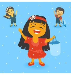 Children in the rain vector
