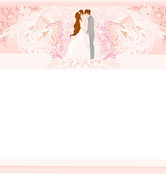 Wedding couple on floral background card vector
