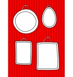 Hand drawn decorative frames set on stripes wall vector