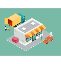 Shop and delivery isometric 3d top side view vector
