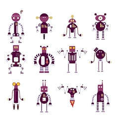 Collection of purple robot icons vector