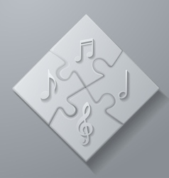 Music notes on white puzzle background vector