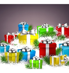 Christmas background with gift boxes vector