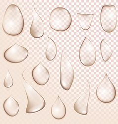 Drop pure clear water drops realistic set isolated vector