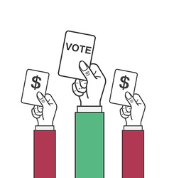 Hand holding vote label vector