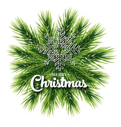 Merry christmas lettering card with pine branch vector