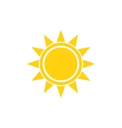 Flat sun summer bright icon on white vector