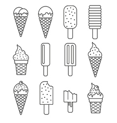 Line ice cream collection set vector