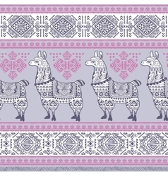Alpaca llama animal seamless pattern vector