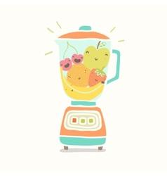 Blender full of funny fruits vector image vector image