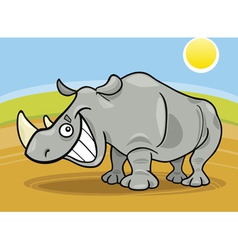 cartoon illustration of funny african rhinoceros vector image