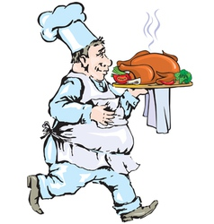 Chef carrying tray with chicken vector image