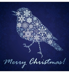 Christmas background with bird from snowflakes vector image vector image