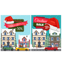 Christmas sale set of posters vector
