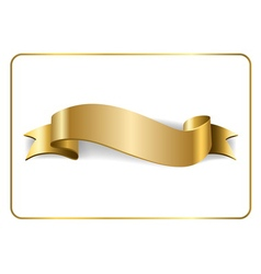Gold satin ribbon on white 1 vector image vector image