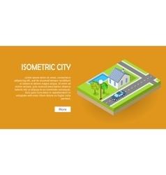Isometric city web banner vector