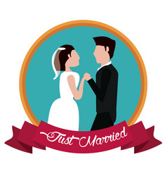 Just married couple holding hands label vector
