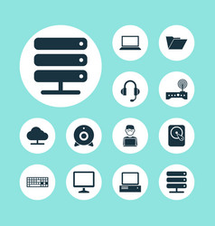 Laptop icons set collection of database dossier vector